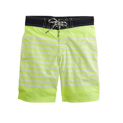 Boys' board short in neon kiwi stripe