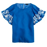 Collection embroidered linen flounce top