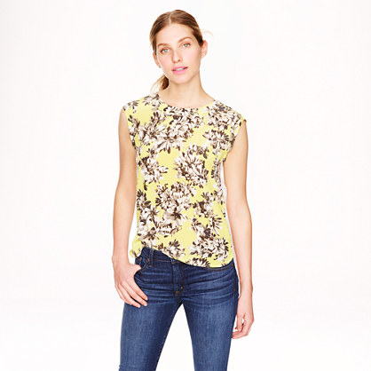 Sleeveless drapey top in photo floral and eyelet
