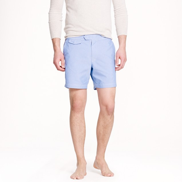 "6.5"" tab swim short in oxford cloth"