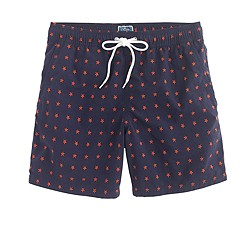 "6"" swim trunk in red stars"