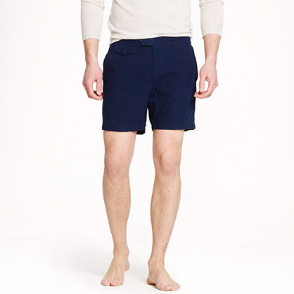 "6.5"" tab swim short in tonal seersucker"
