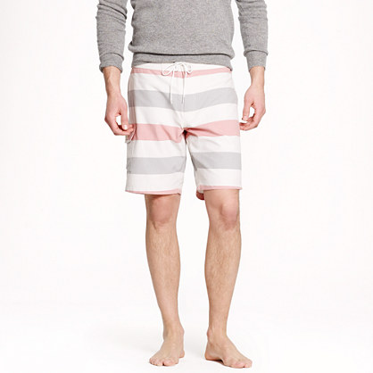 "9"" board short in stripe oxford cloth"