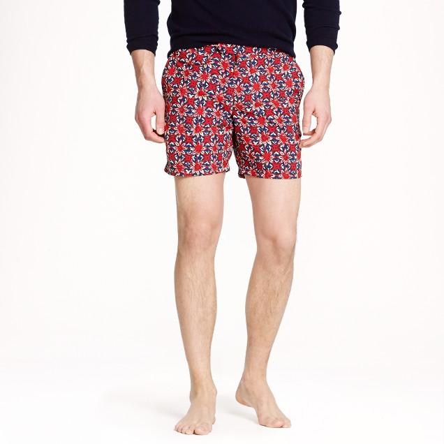 """6.5"""" tab swim short in batik floral"""