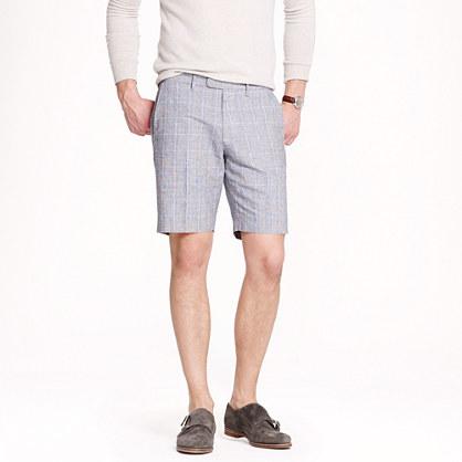 Bowery slim short in glen plaid cotton