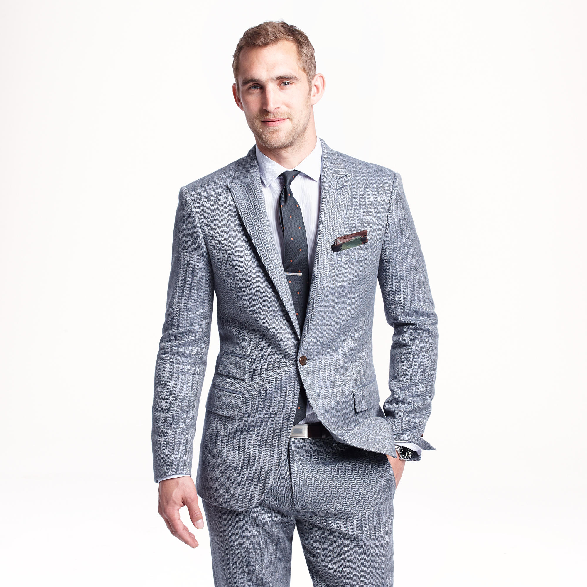 Ludlow suit jacket in herringbone Italian cotton-silk : Men suits