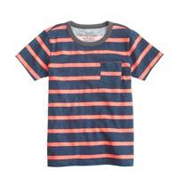 Boys' ringer pocket T-shirt in neon papaya stripe