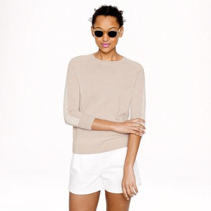 Merino wool lattice-sleeve sweater