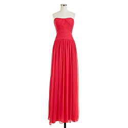 Petite Ava long dress in silk chiffon