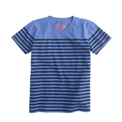 Boys' stripe V-neck tee in Pacific stripe