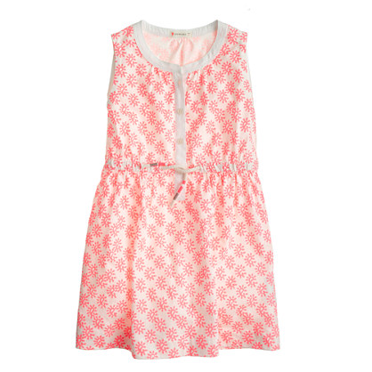 Girls' woodblock paisley dress