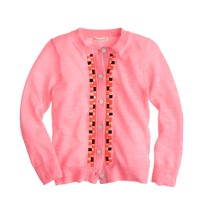 Girl's embroidered tile cardigan