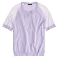 Sheer-sleeve crepe sweater