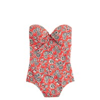 Graphic floral tab bandeau one-piece swimsuit