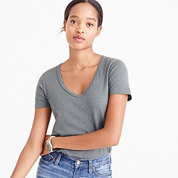 Petite vintage cotton scoopneck T-shirt