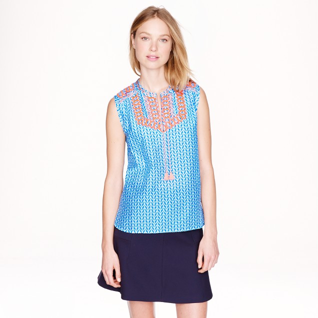 Embroidered tassel top in arrow print