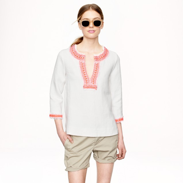 Collection neon-trim linen tunic