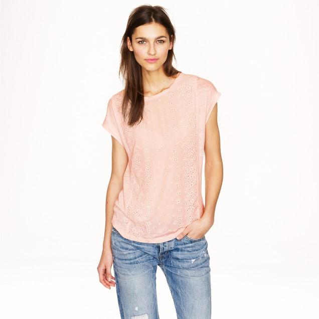 Eyelet-front linen T-shirt