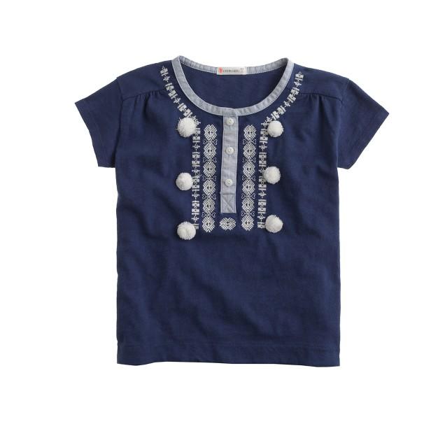 Girls' embroidered pom-pom T-shirt