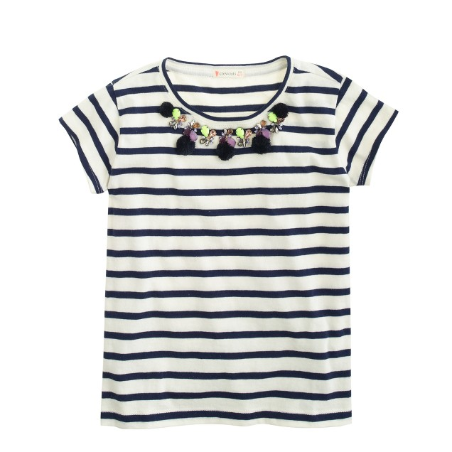 Girls' jeweled stripe T-shirt