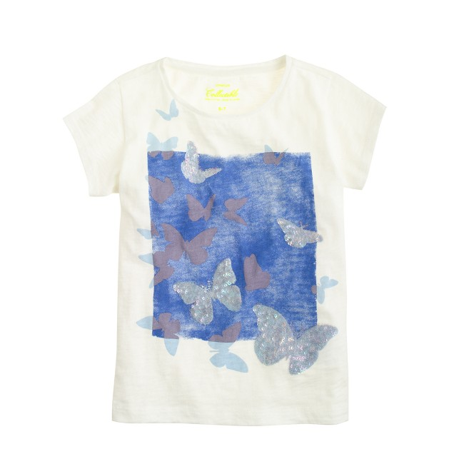 Girls' sequin butterfly T-shirt