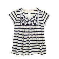 Girls' embroidered stripe T-shirt