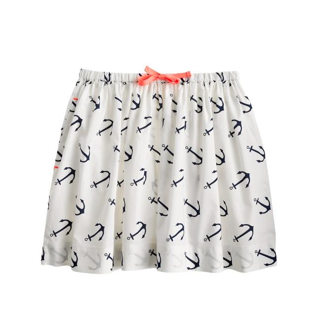 Girls' anchor print skirt