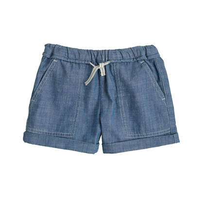 Girls' chambray pull-on short