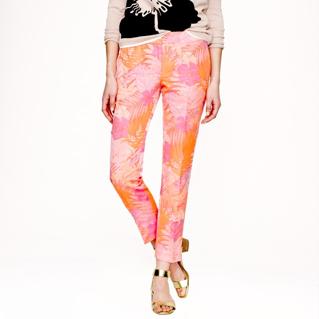 Collection jacquard pant in neon tropical floral