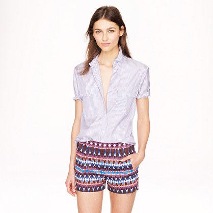 Cotton piqué short in gemstone print