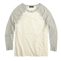 Merino wool baseball sweater in scallop intarsia