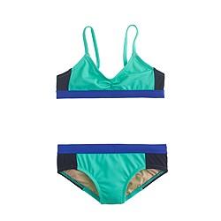 Girls' bikini set in triple colorblock