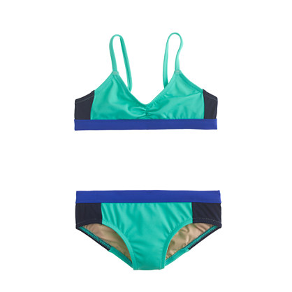 Girls' bikini set in triple colorblock