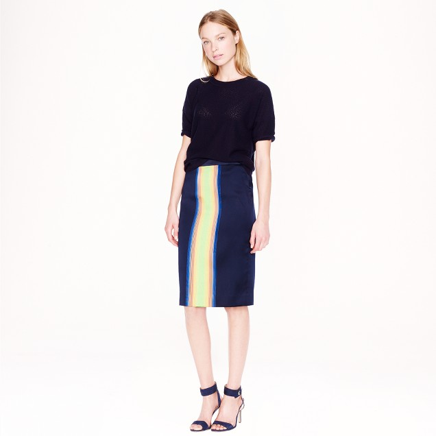 Collection surf-stripe pencil skirt