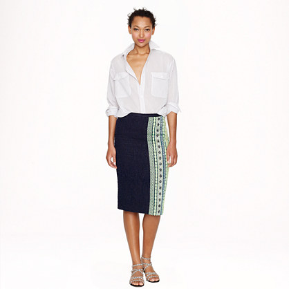 Collection double-tweed skirt