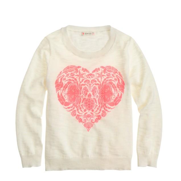 Girls' sea creatures heart sweater
