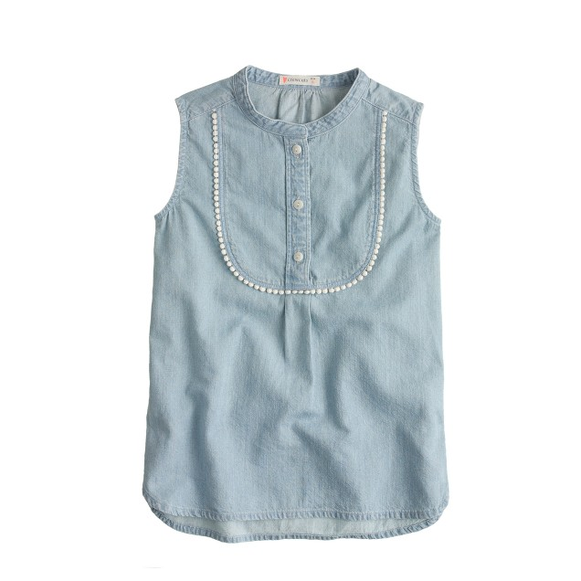 Girls' sleeveless chambray bib tunic
