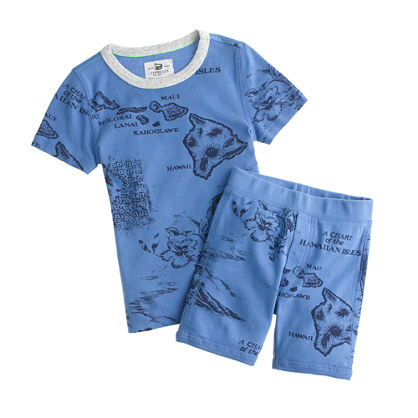 Boys' short-sleeve pajama set in Hawaii map print