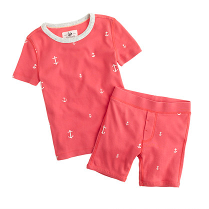 Boys' short-sleeve pajama set in anchor print