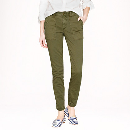 Skinny washed twill utility pant