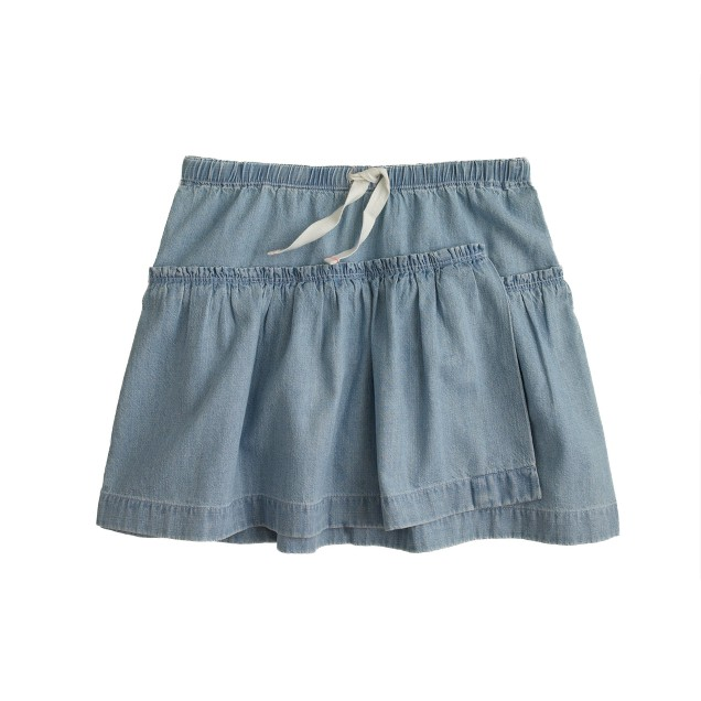 Girls' chambray ruffle skirt