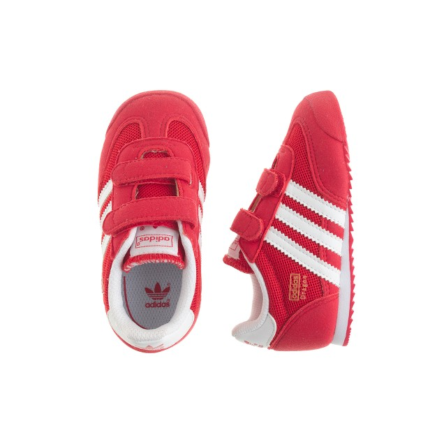 Kids' junior Adidas® Dragon sneakers in red and white