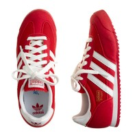 Kids' Adidas® Dragon sneakers in red and white in larger sizes