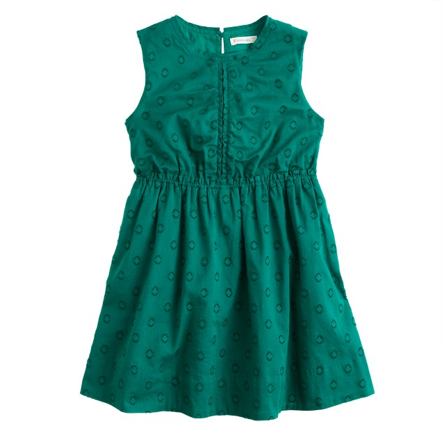 Girls' embroidered polka-dot dress