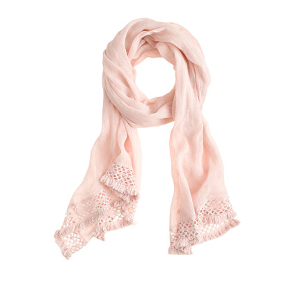 Linen-cotton crochet-trim scarf