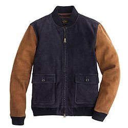 Suede colorblock bomber jacket