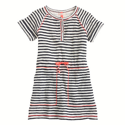 Girls' terry beach dress in stripe