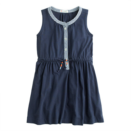 Girls' contrast placket dress