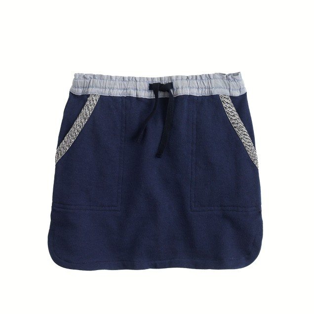 Girls' drawstring sweatshirt skirt