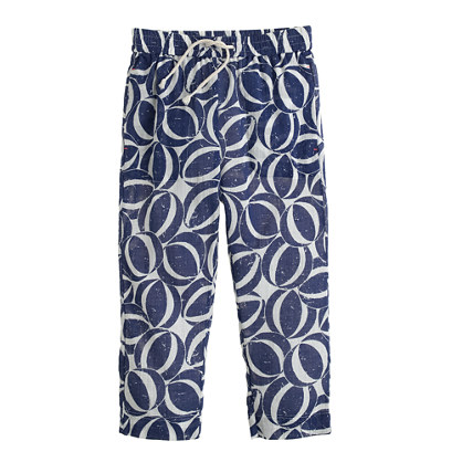 Girls' gauze drawstring pant in beach ball print